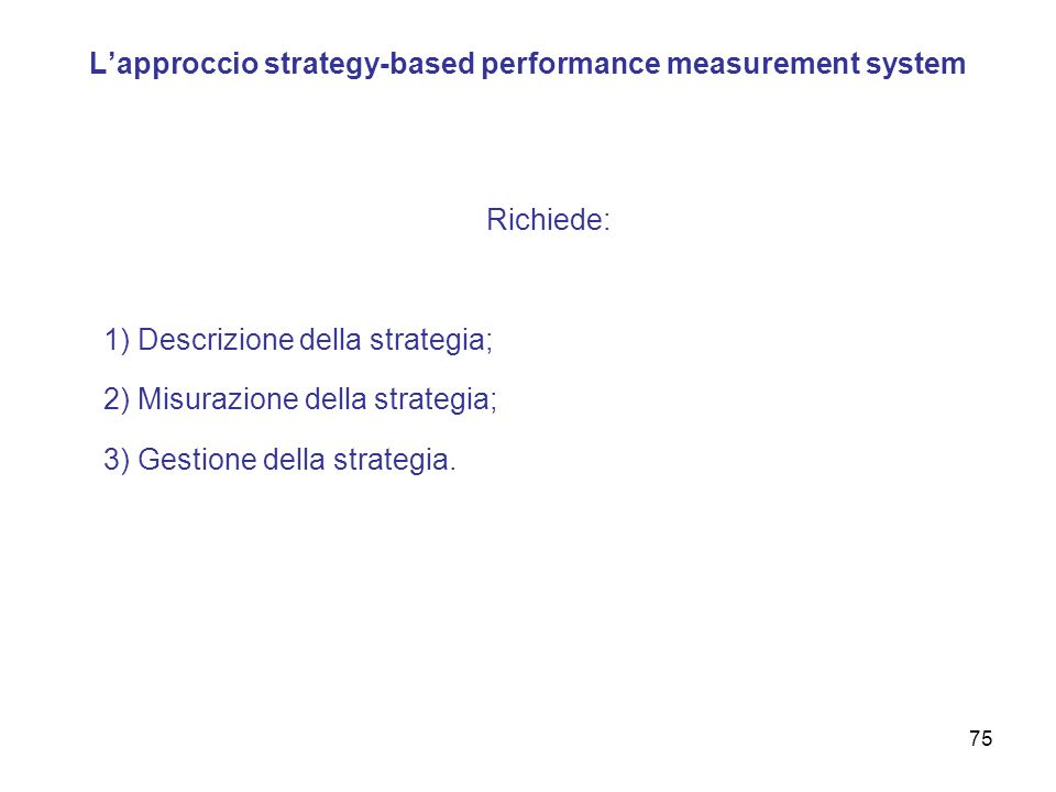 L'approccio strategy-based performance measurement system