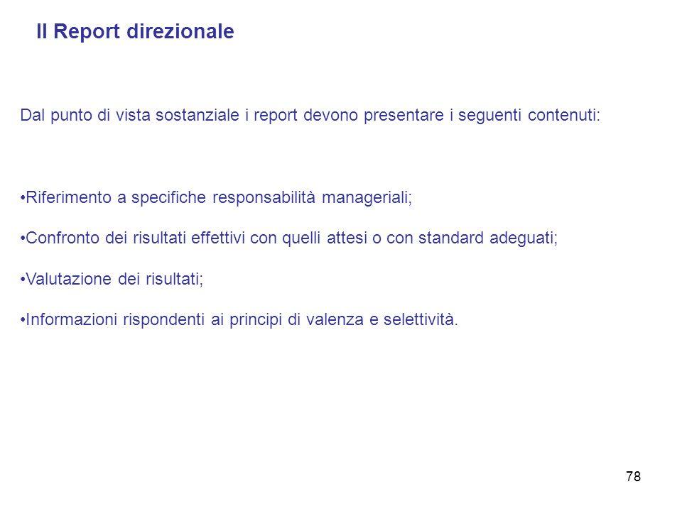 Il Report direzionale Dal punto di vista sostanziale i report devono presentare i seguenti contenuti: