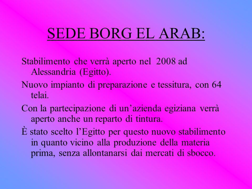 SEDE BORG EL ARAB: Stabilimento che verrà aperto nel 2008 ad Alessandria (Egitto). Nuovo impianto di preparazione e tessitura, con 64 telai.