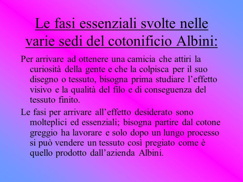 Le fasi essenziali svolte nelle varie sedi del cotonificio Albini: