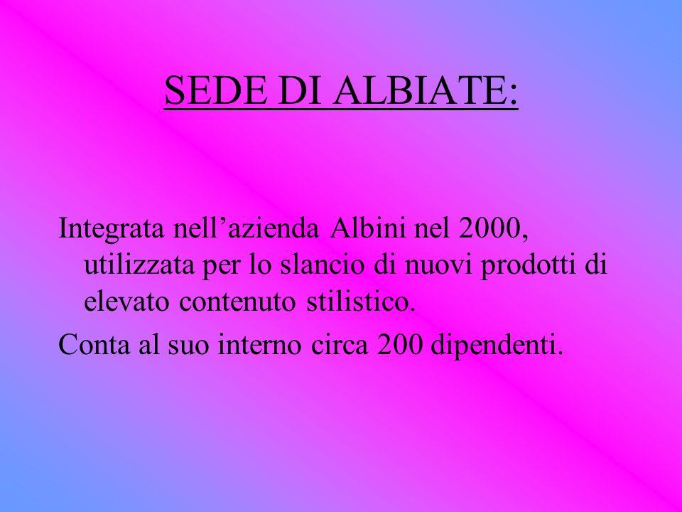 SEDE DI ALBIATE: Integrata nell'azienda Albini nel 2000, utilizzata per lo slancio di nuovi prodotti di elevato contenuto stilistico.