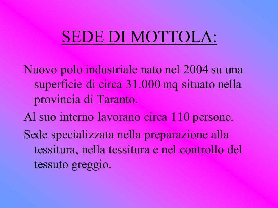 SEDE DI MOTTOLA: Nuovo polo industriale nato nel 2004 su una superficie di circa 31.000 mq situato nella provincia di Taranto.