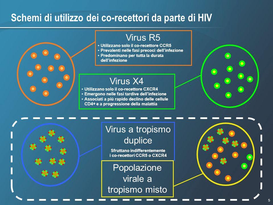Schemi di utilizzo dei co-recettori da parte di HIV