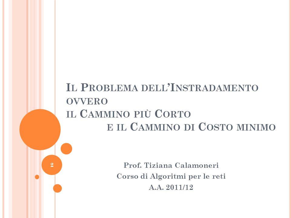 Prof. Tiziana Calamoneri Corso di Algoritmi per le reti A.A. 2011/12