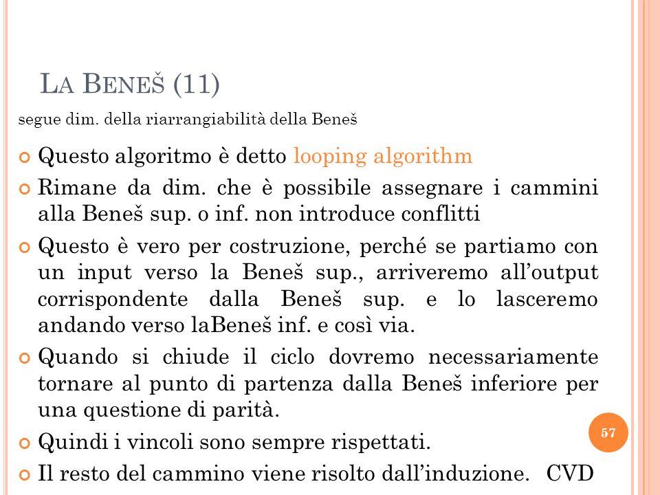 La Beneš (11) Questo algoritmo è detto looping algorithm