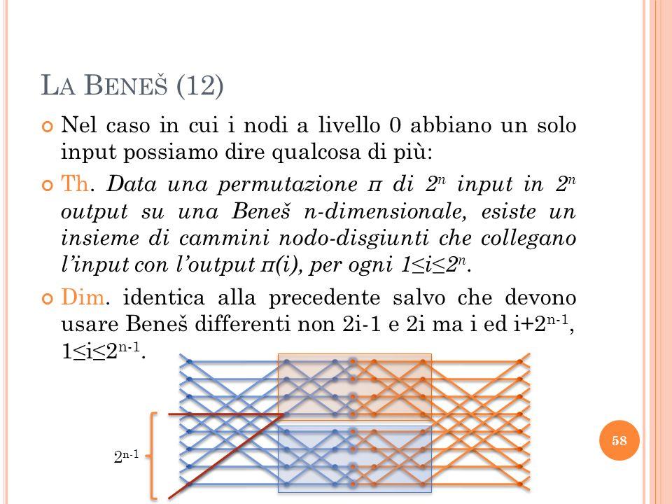 La Beneš (12) Nel caso in cui i nodi a livello 0 abbiano un solo input possiamo dire qualcosa di più: