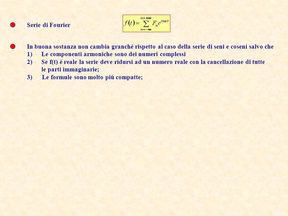 Serie di Fourier In buona sostanza non cambia granché rispetto al caso della serie di seni e coseni salvo che.