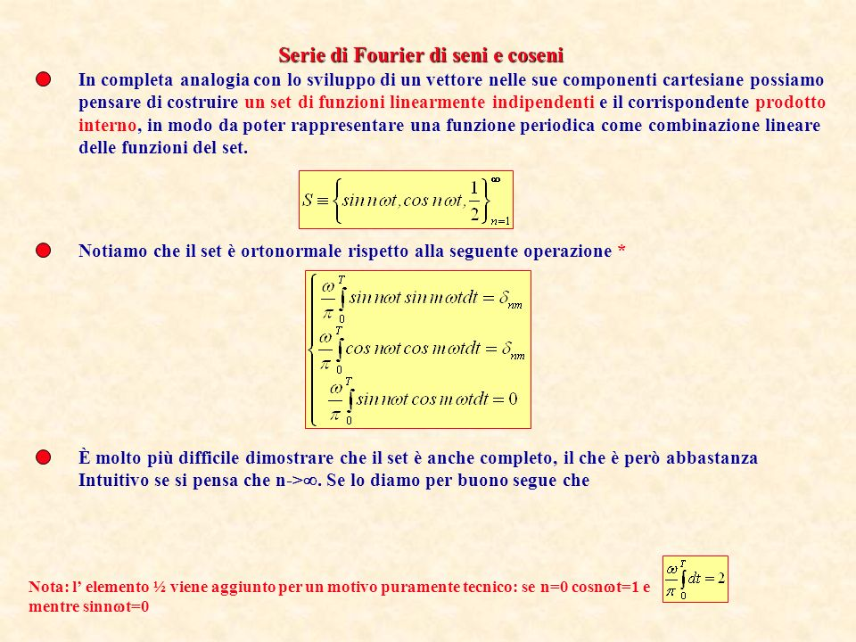 Serie di Fourier di seni e coseni