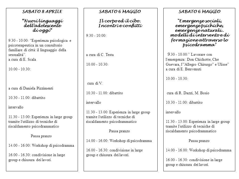 SABATO 6 MAGGIO Emergenze sociali, emergenze psichiche, emergenze naturali.. modelli di intervento e di formazione attraverso lo psicodramma