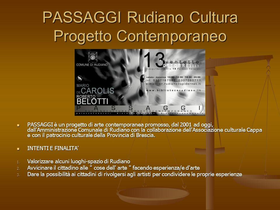 PASSAGGI Rudiano Cultura Progetto Contemporaneo