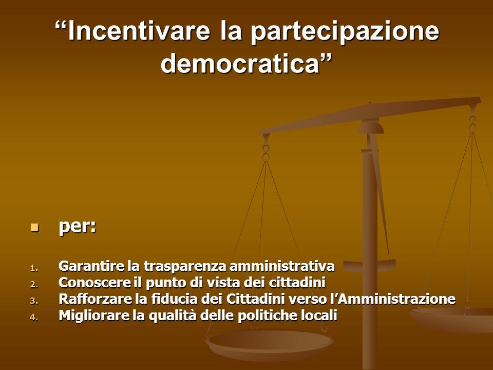 Incentivare la partecipazione democratica