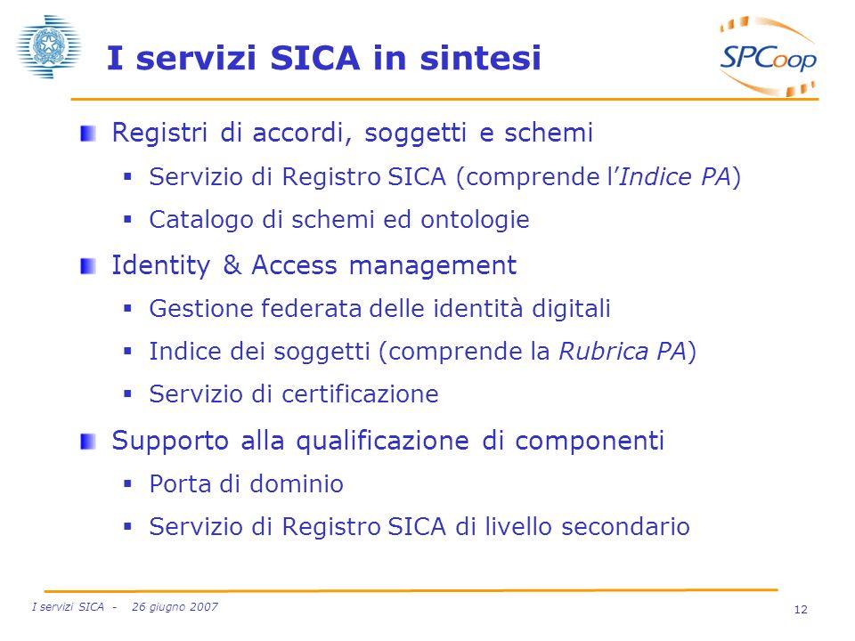 I servizi SICA in sintesi