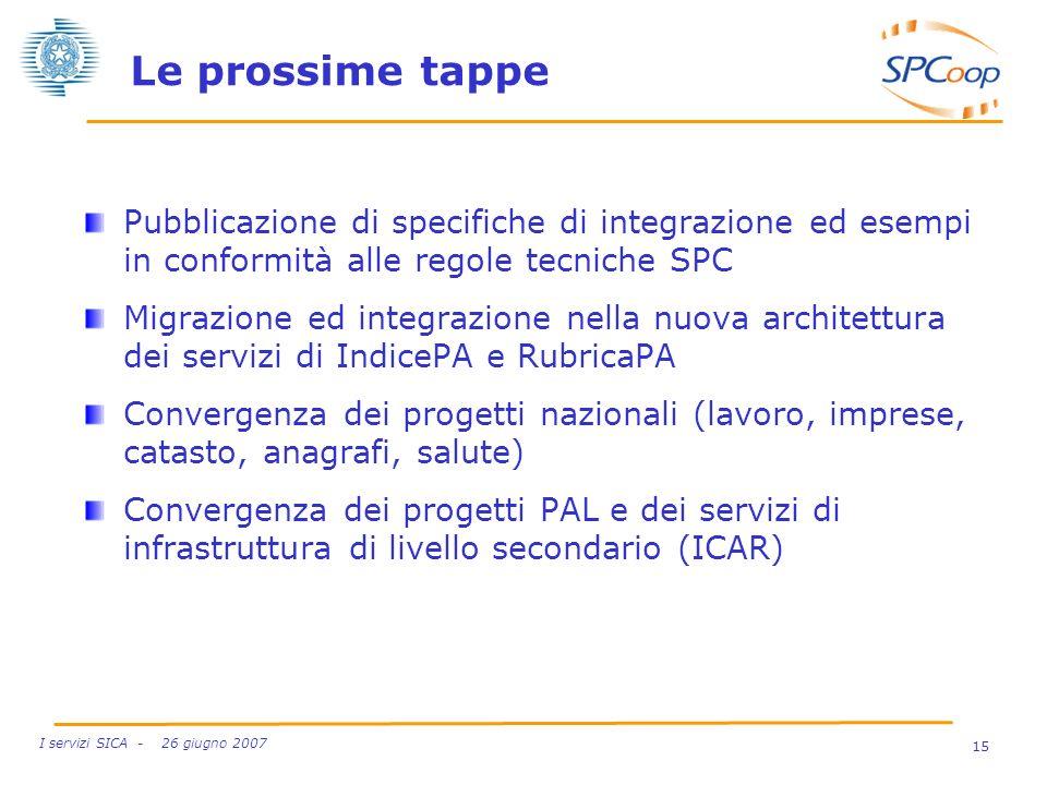 Le prossime tappe Pubblicazione di specifiche di integrazione ed esempi in conformità alle regole tecniche SPC.
