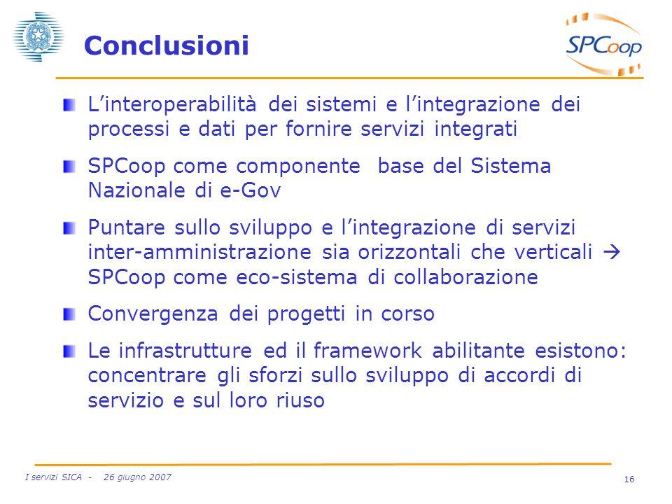 Conclusioni L'interoperabilità dei sistemi e l'integrazione dei processi e dati per fornire servizi integrati.