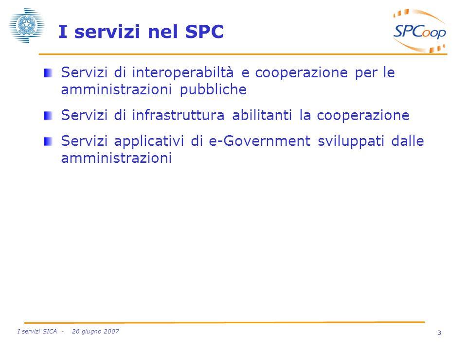 I servizi nel SPC Servizi di interoperabiltà e cooperazione per le amministrazioni pubbliche. Servizi di infrastruttura abilitanti la cooperazione.