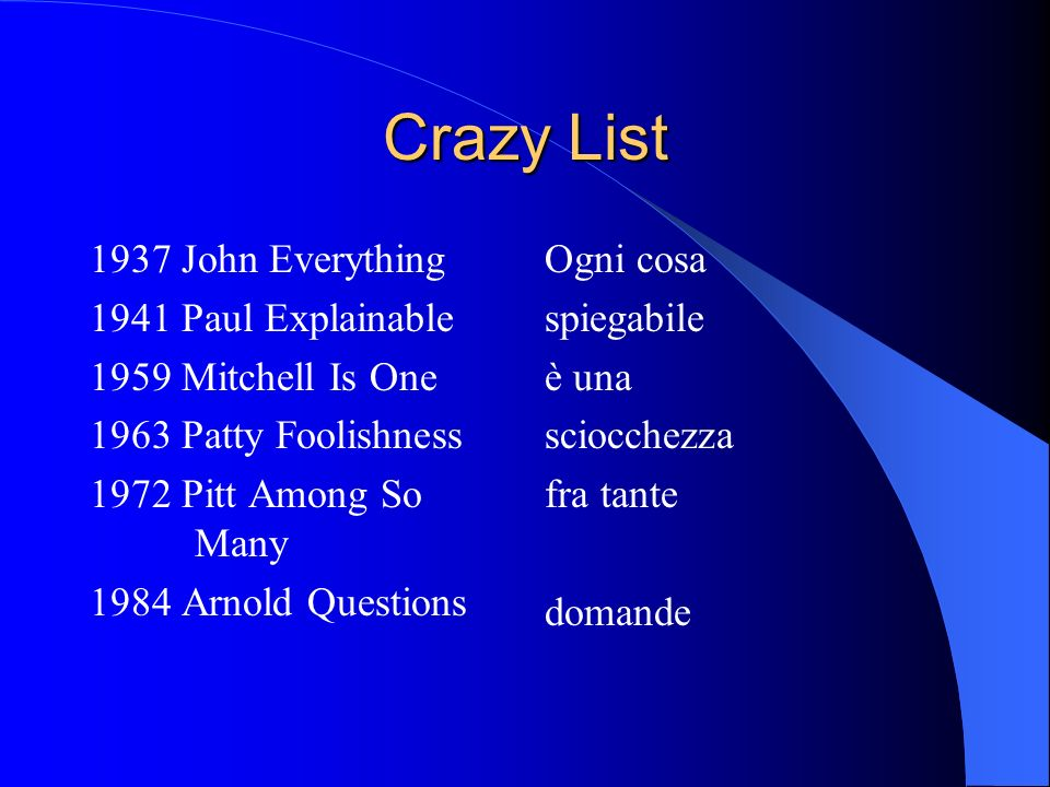 Crazy List 1937 John Everything 1941 Paul Explainable