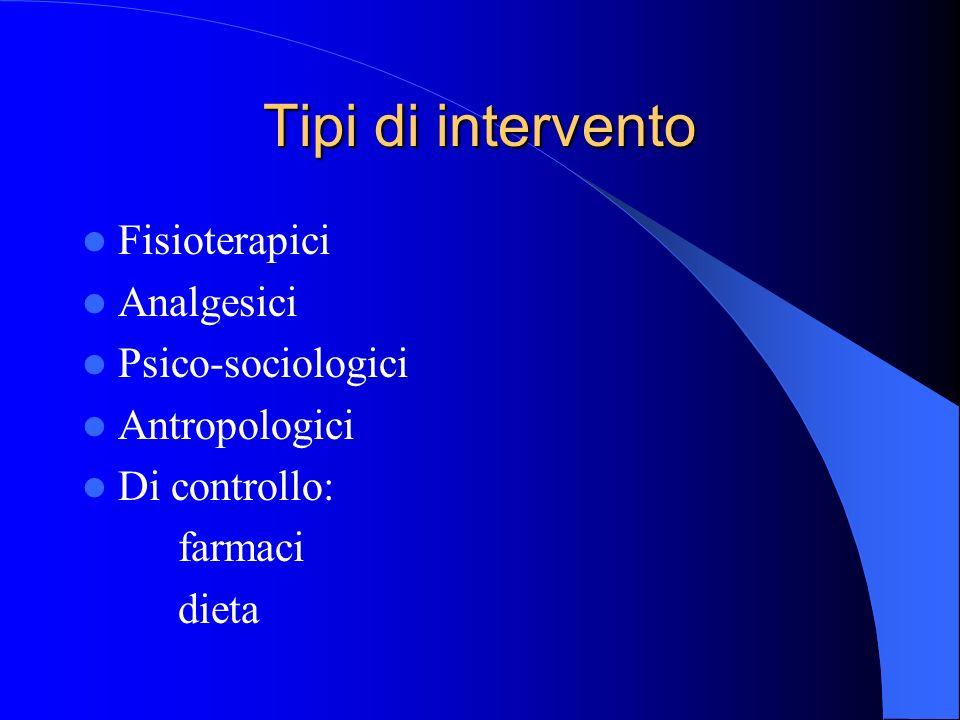 Tipi di intervento Fisioterapici Analgesici Psico-sociologici