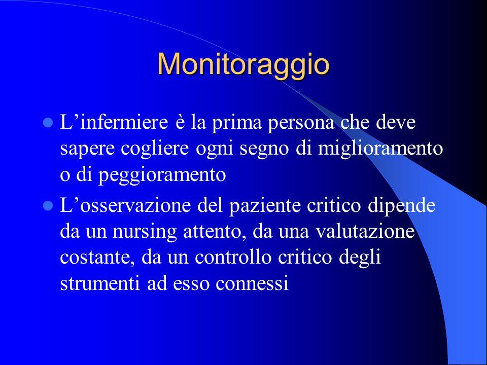 Monitoraggio L'infermiere è la prima persona che deve sapere cogliere ogni segno di miglioramento o di peggioramento.