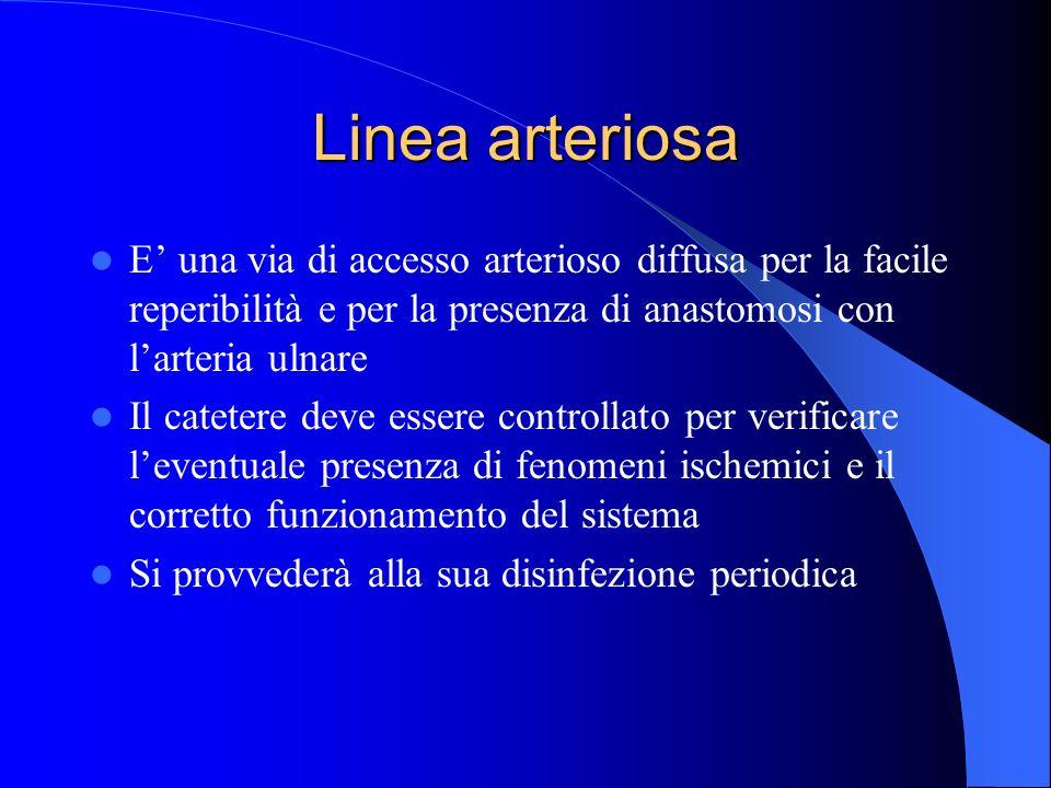 Linea arteriosa E' una via di accesso arterioso diffusa per la facile reperibilità e per la presenza di anastomosi con l'arteria ulnare.