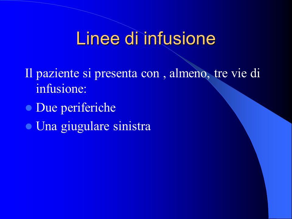 Linee di infusione Il paziente si presenta con , almeno, tre vie di infusione: Due periferiche.