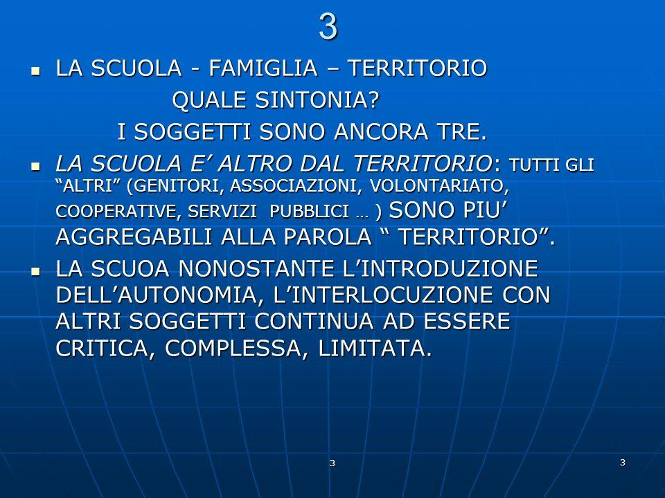 3 LA SCUOLA - FAMIGLIA – TERRITORIO QUALE SINTONIA
