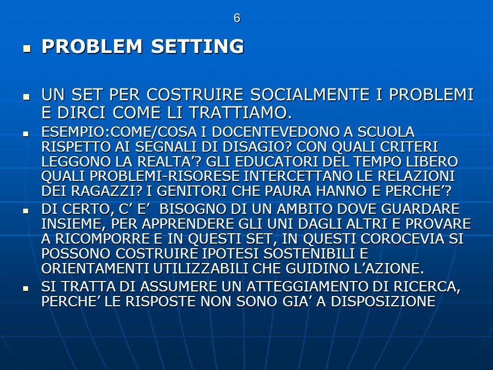 6 PROBLEM SETTING. UN SET PER COSTRUIRE SOCIALMENTE I PROBLEMI E DIRCI COME LI TRATTIAMO.