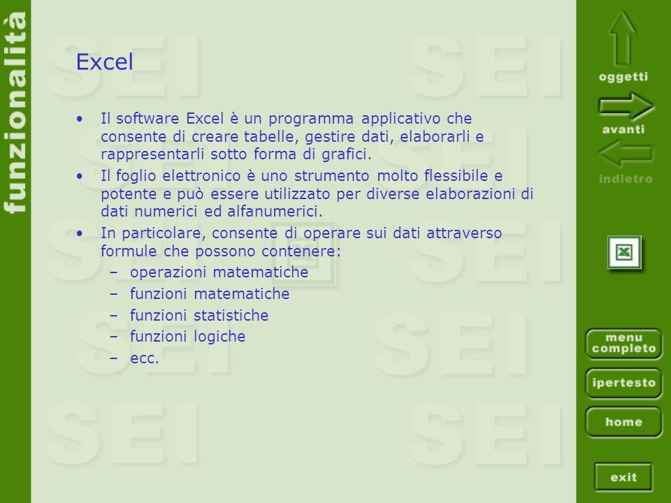 Excel Il software Excel è un programma applicativo che consente di creare tabelle, gestire dati, elaborarli e rappresentarli sotto forma di grafici.