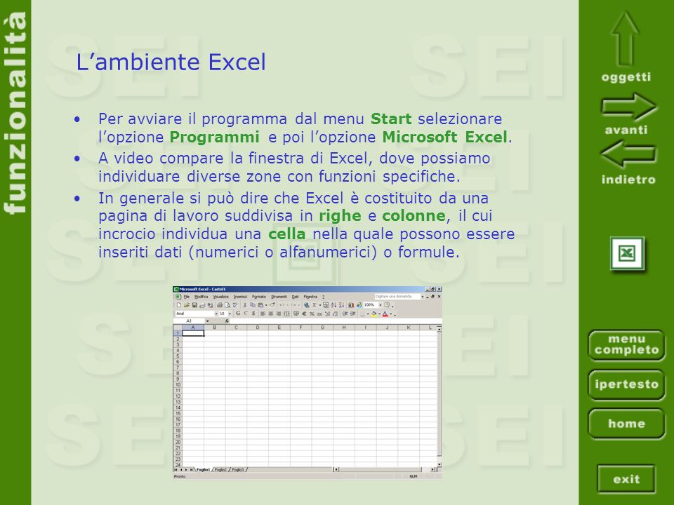 L'ambiente Excel Per avviare il programma dal menu Start selezionare l'opzione Programmi e poi l'opzione Microsoft Excel.