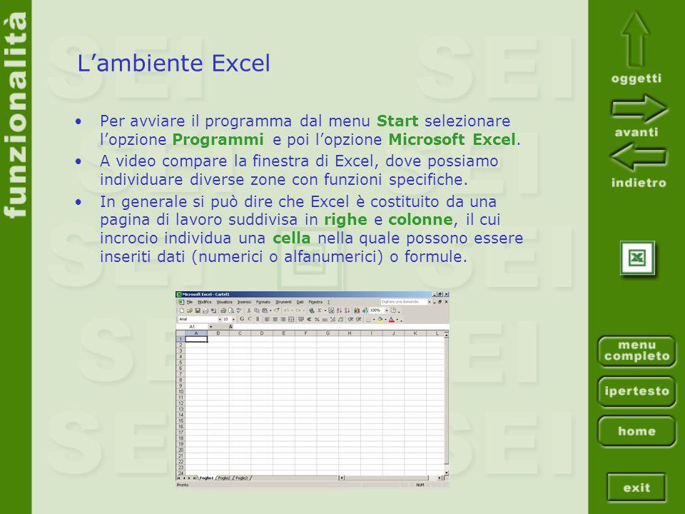 L'ambiente ExcelPer avviare il programma dal menu Start selezionare l'opzione Programmi e poi l'opzione Microsoft Excel.