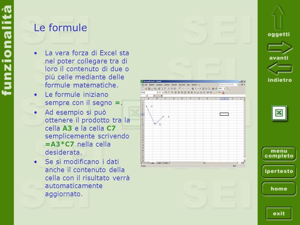 Le formule La vera forza di Excel sta nel poter collegare tra di loro il contenuto di due o più celle mediante delle formule matematiche.