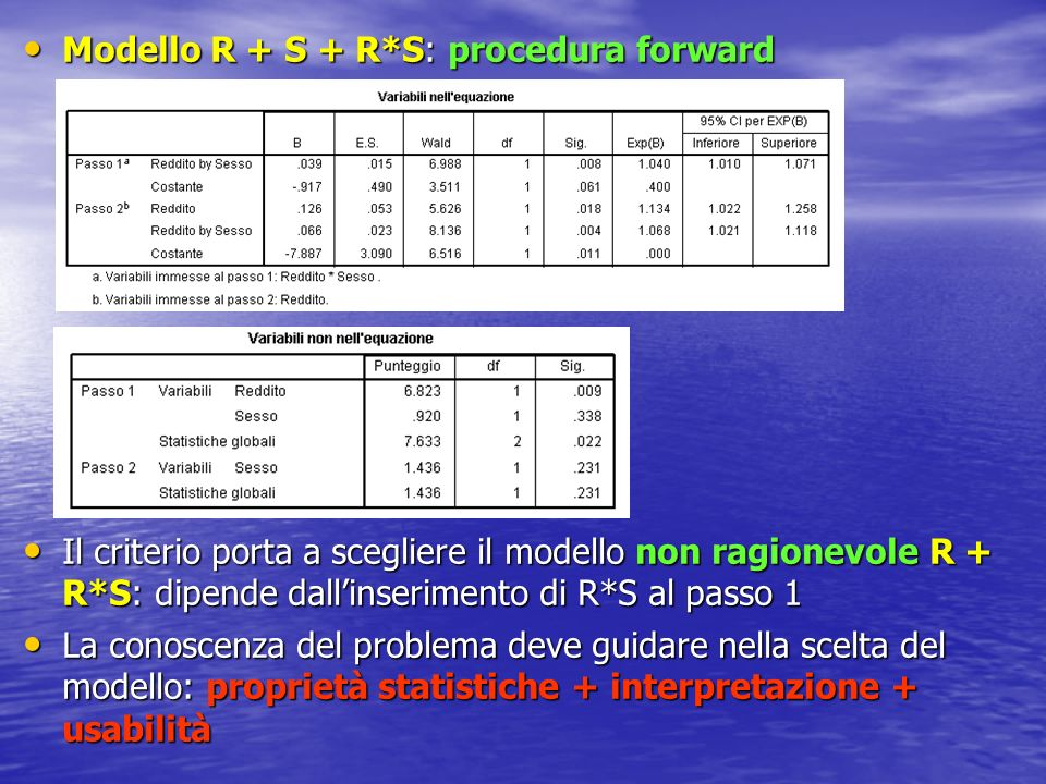 Modello R + S + R*S: procedura forward
