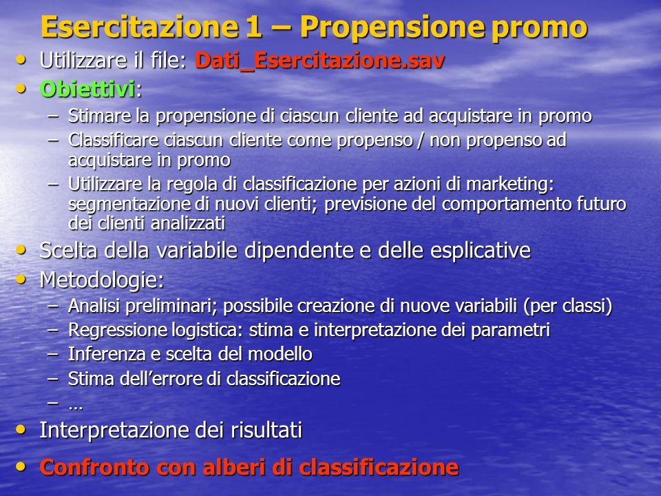 Esercitazione 1 – Propensione promo