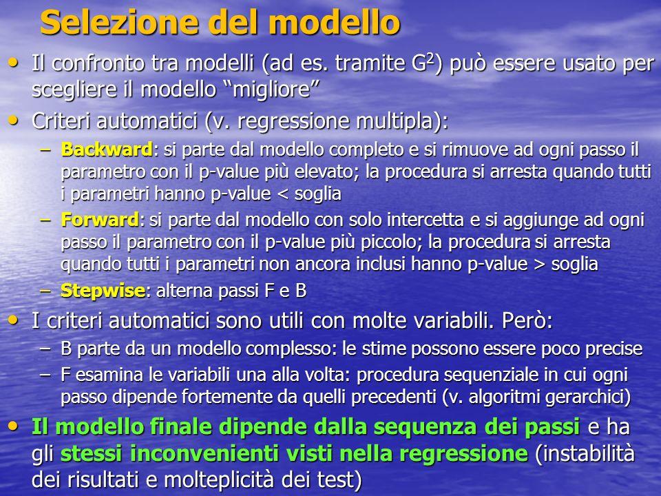 Selezione del modello Il confronto tra modelli (ad es. tramite G2) può essere usato per scegliere il modello migliore