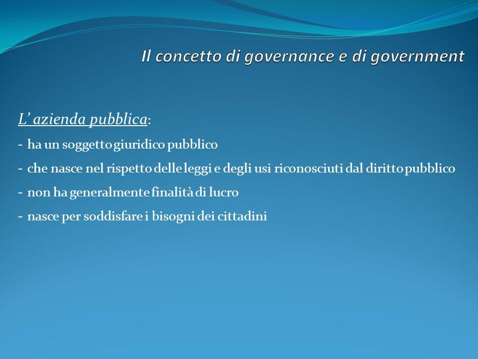 Il concetto di governance e di government