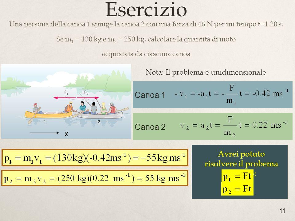 Esercizio Canoa 1 Canoa 2 Avrei potuto risolvere il probema usando:
