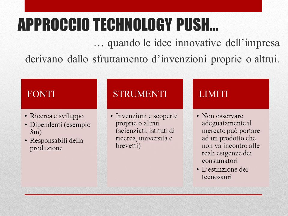 APPROCCIO TECHNOLOGY PUSH…