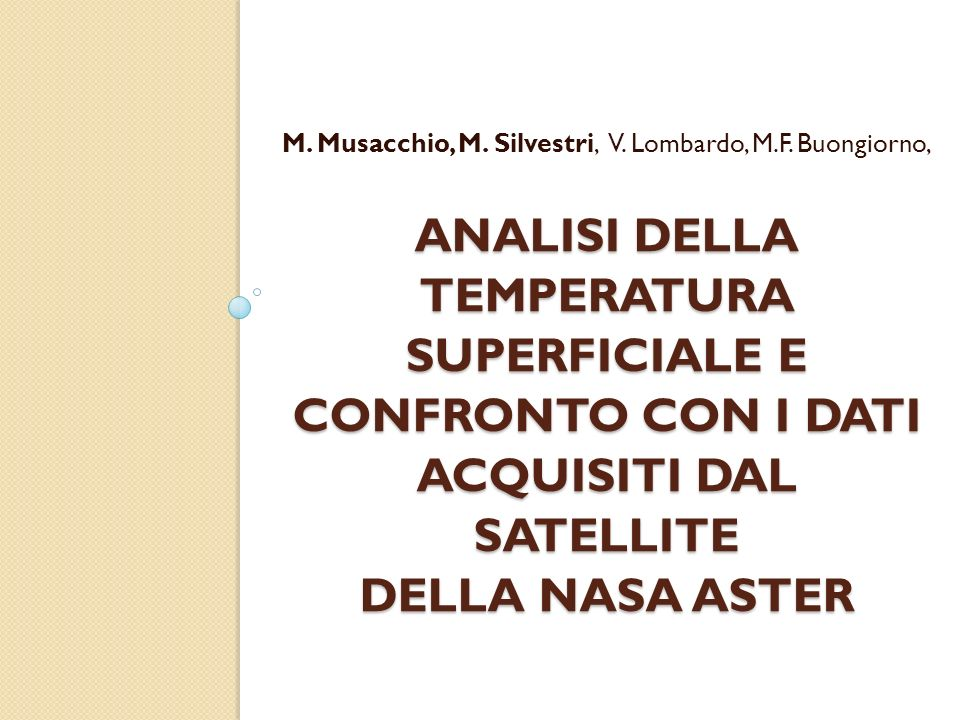 M. Musacchio, M. Silvestri, V. Lombardo, M.F. Buongiorno,