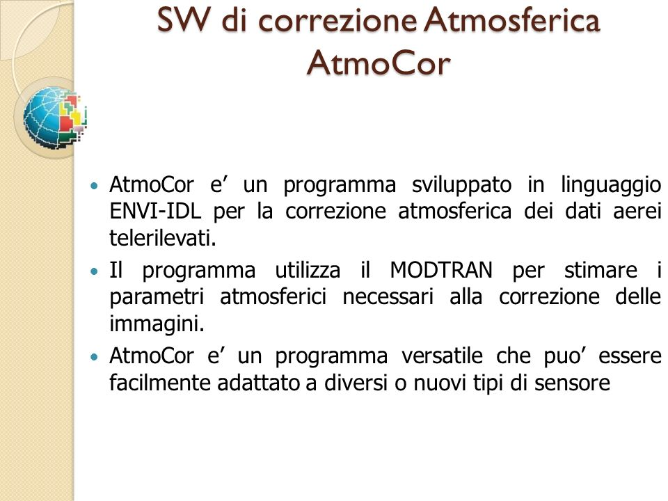 SW di correzione Atmosferica AtmoCor