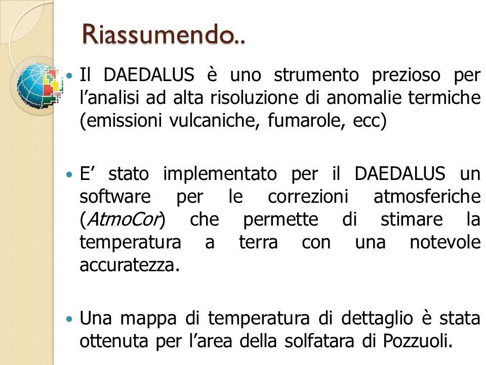Riassumendo.. Il DAEDALUS è uno strumento prezioso per l'analisi ad alta risoluzione di anomalie termiche (emissioni vulcaniche, fumarole, ecc)
