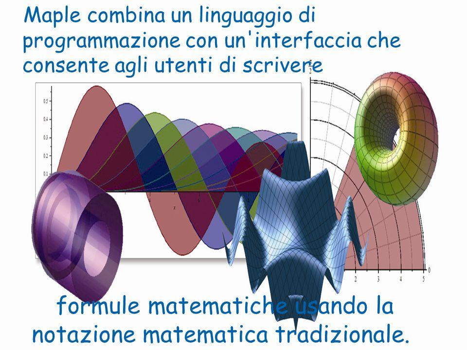 formule matematiche usando la notazione matematica tradizionale.