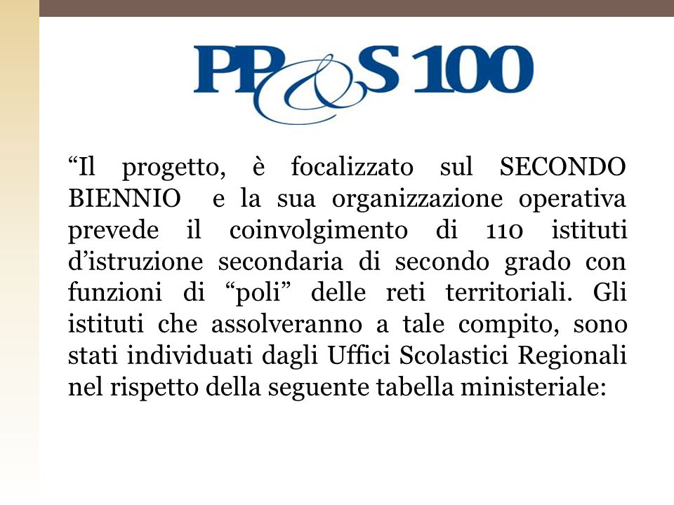 Il progetto, è focalizzato sul SECONDO BIENNIO e la sua organizzazione operativa prevede il coinvolgimento di 110 istituti d'istruzione secondaria di secondo grado con funzioni di poli delle reti territoriali.