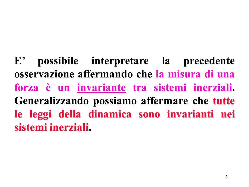 E' possibile interpretare la precedente osservazione affermando che la misura di una forza è un invariante tra sistemi inerziali.