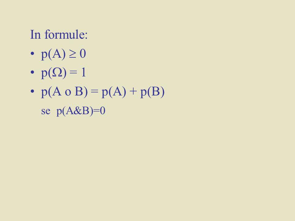 In formule: p(A)  0 p() = 1 p(A o B) = p(A) + p(B) se p(A&B)=0