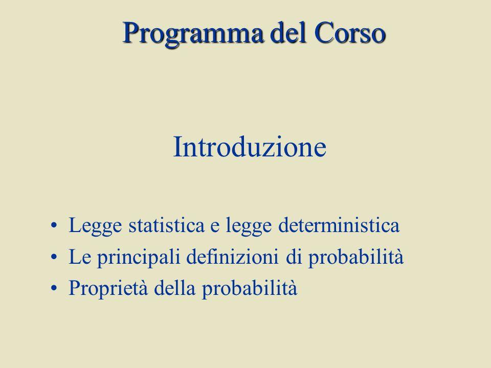 Programma del Corso Introduzione