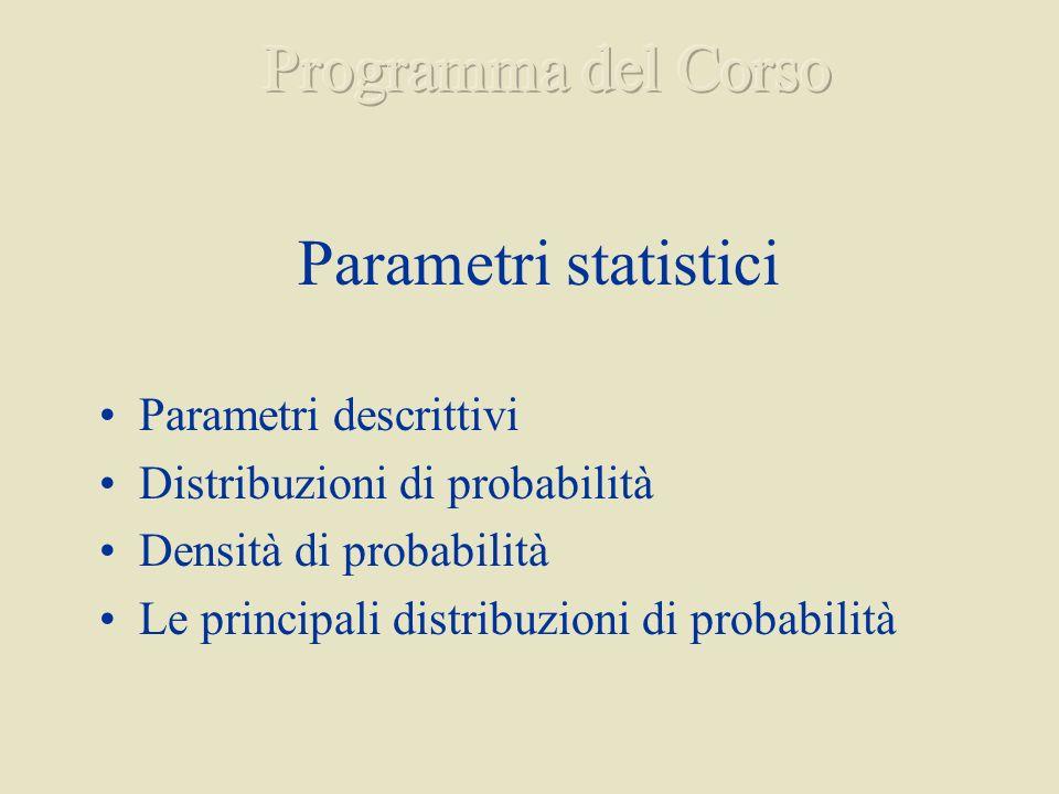 Programma del Corso Parametri statistici Parametri descrittivi
