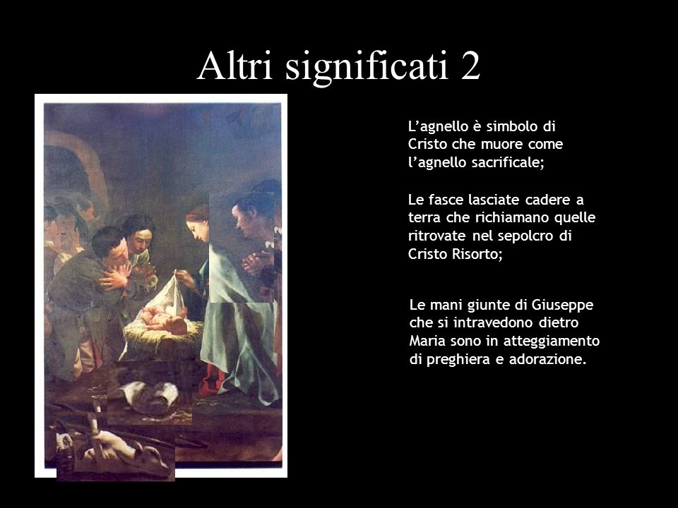 Altri significati 2 L'agnello è simbolo di Cristo che muore come l'agnello sacrificale;