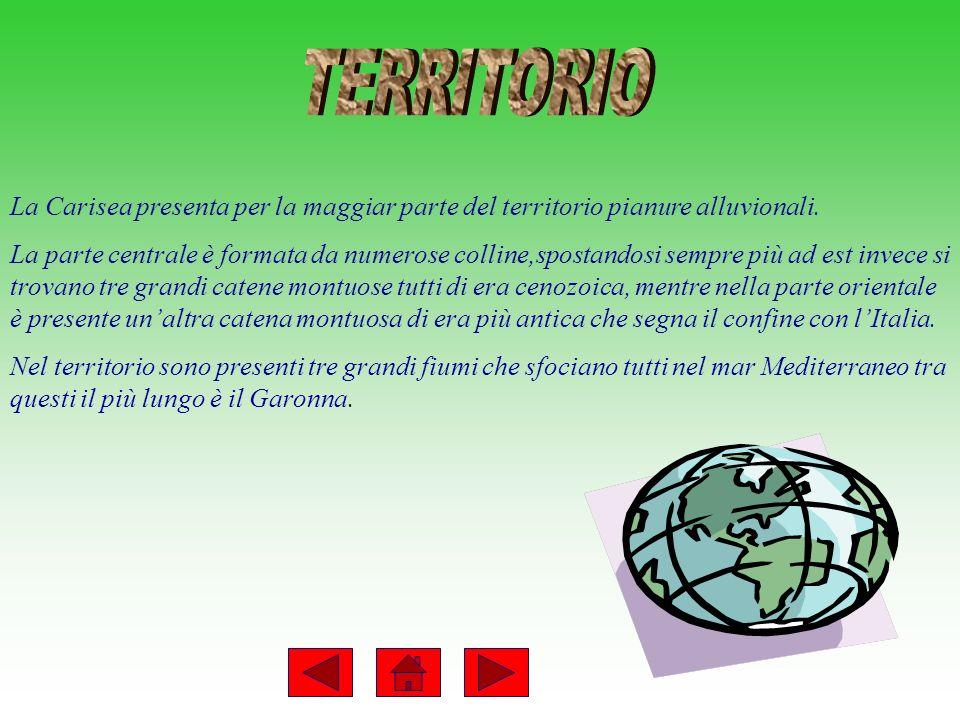 TERRITORIO La Carisea presenta per la maggiar parte del territorio pianure alluvionali.