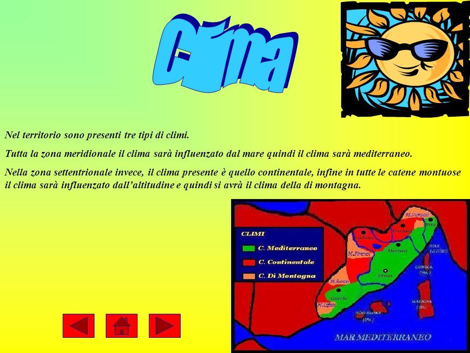 Clima Nel territorio sono presenti tre tipi di climi.