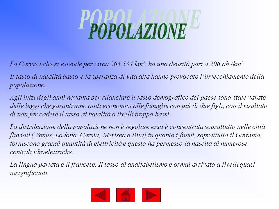 POPOLAZIONE La Carisea che si estende per circa 264.534 km², ha una densità pari a 206 ab./km².