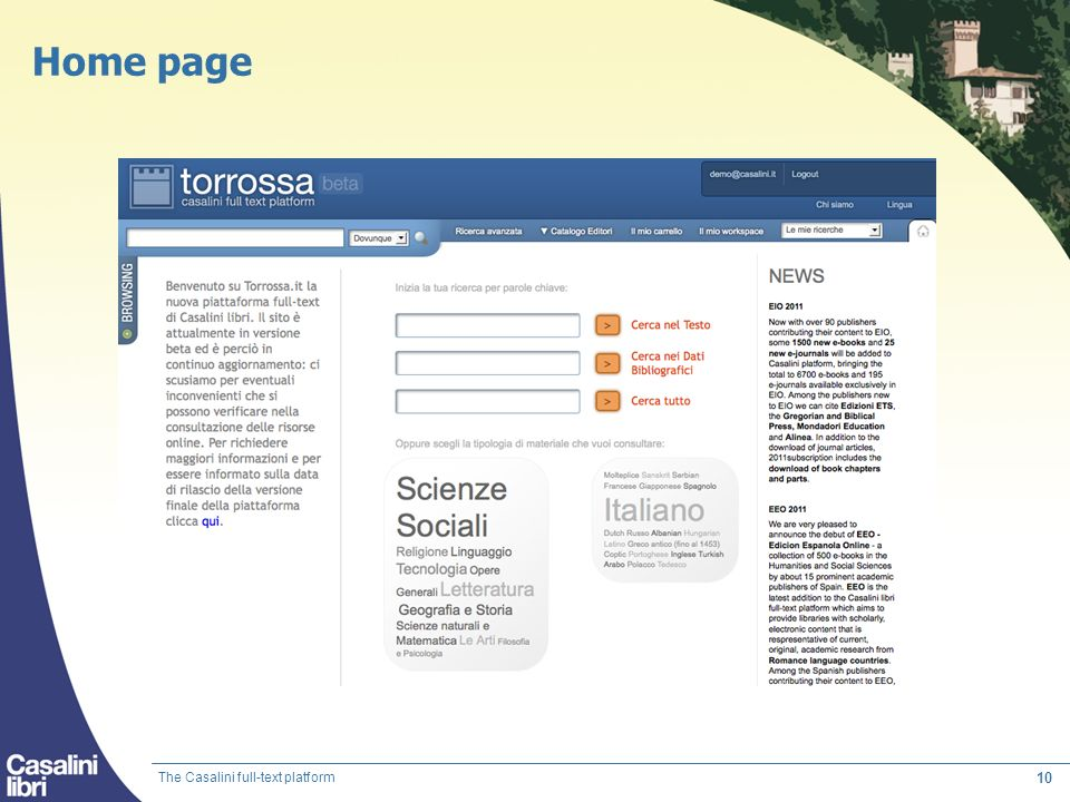 Home page The Casalini full-text platform